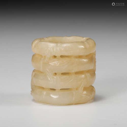 Chinese White Jade Bamboo Motif Ring