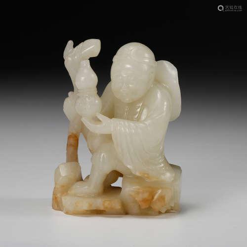 Chinese White Jade Carved Fisherman