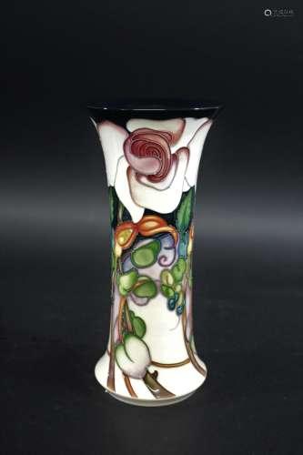 MOORCROFT VASE - ELIZABETH a slender vase in the Elizabeth d...