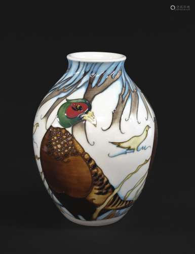 MOORCROFT LIMITED EDITION VASE in the Pheasants of Snow Holl...