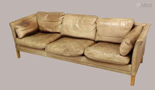 BORGE MOGENSEN DANISH LEATHER SOFA a large three seater sofa...