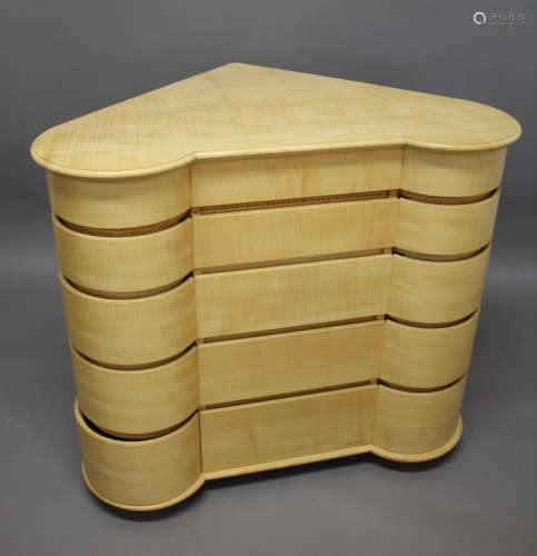 SEAN FEENEY - CONTEMPORARY SYCAMORE CHEST OF DRAWERS, MATCHI...