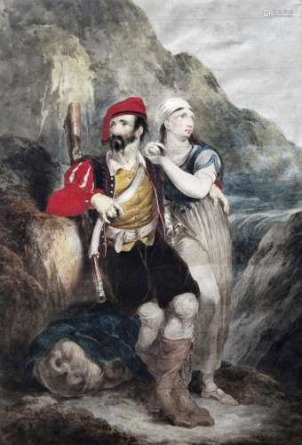 THOMAS UWINS, RA (1782-1857) A MOSCHETTIERE AND HIS LADY, ON...