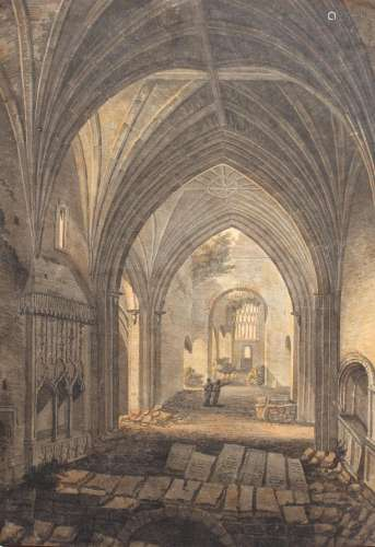 THOMAS HEARNE (1744-1817) TWO FIGURES IN THE NAVE OF A RUINE...