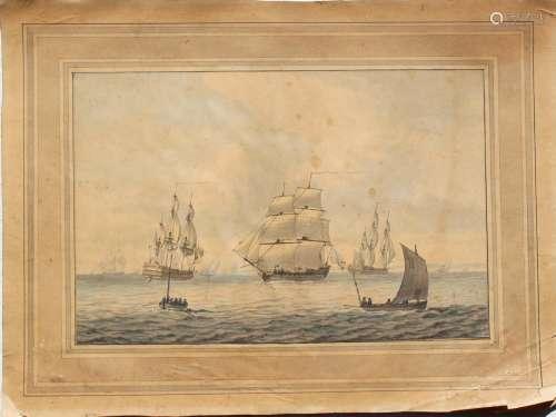 SAMUEL ATKINS (1760-1808) MARINE SCENE Watercolour with pen ...