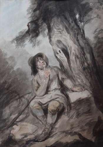 THOMAS BARKER OF BATH (1769-1847) THE LARK Coloured washes a...