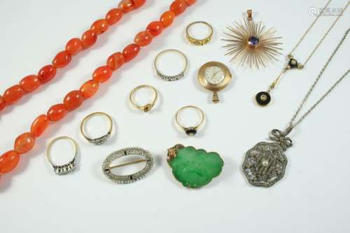 A QUANTITY OF JEWELLERY including a diamond three stone ring...