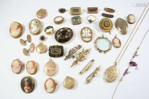 A QUANTITY OF JEWELLERY including a Victorian black enamel a...