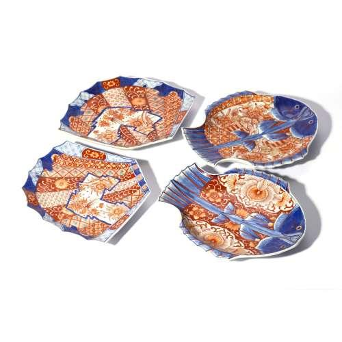 Set of Fish Pattern Imari Ware Plates