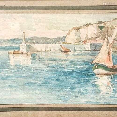 Ecole française début XXème Entrée du Port de Nice Aquarelle...