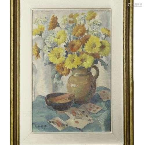 Marcel COUDERC (1898-1991) Bouquet et jeu de cartes, 1944 Aq...
