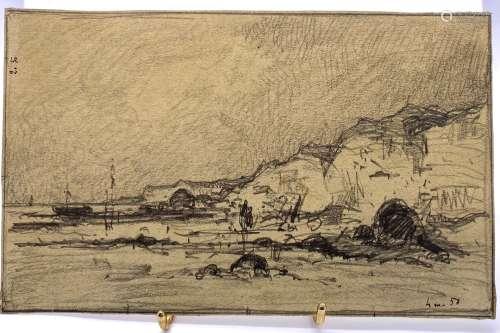 Dans le goût d'Eugène BOUDIN (1824-1898) Falaise d'Amont à E...