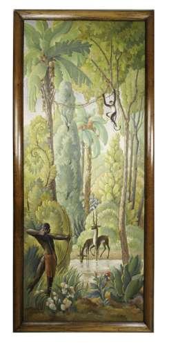 Marcel COUDERC (1898-1991) Scène de chasse Huile sur panneau...