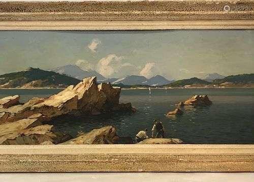 Gustave Vidal (1895-1966) Paysage de bord de mer, Côte d'Azu...