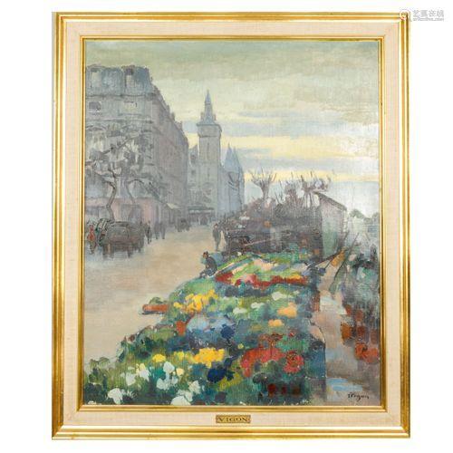 VIGNON, XX ème Le marché aux fleurs de l'île de la Cité Huil...