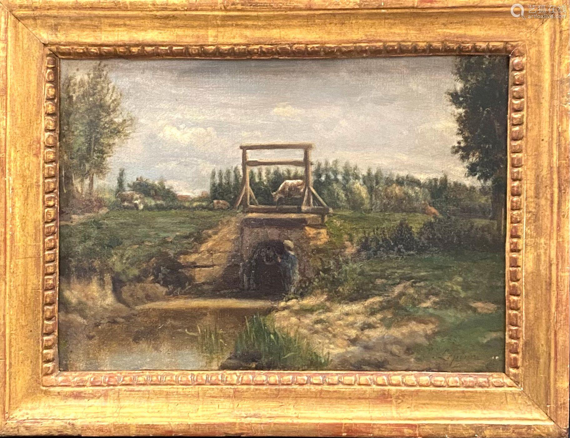 Stanislas LEPINE (1835-1892) Silhouette au bord de l'eau Hui...