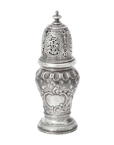 A Queen Anne silver caster by Pentecost Symonds