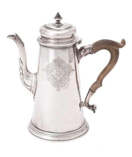 A George III silver tapering coffee pot