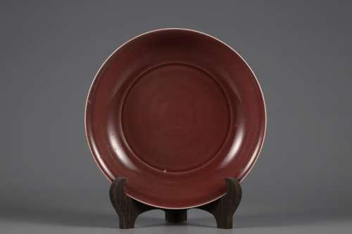 Ming Dynasty red glaze plate