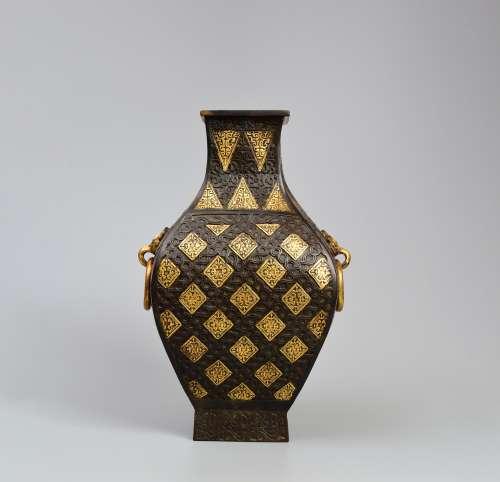 A Gilt Double Beast Pattern Ears Bronze Vase