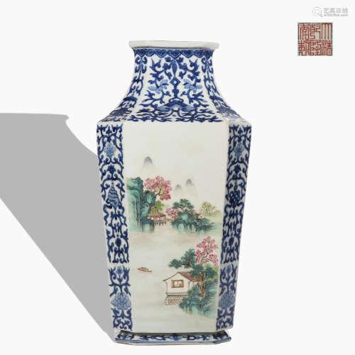 A blue and white 'landscape' vase
