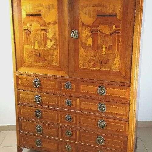 Commode-armoire en marqueterie à décor architecturé ouvrant ...