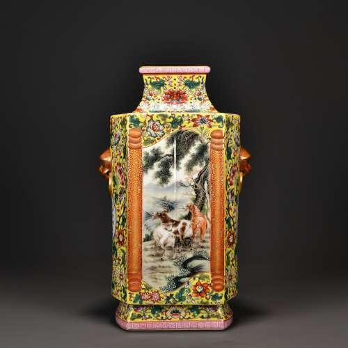 Enamel Square Vase