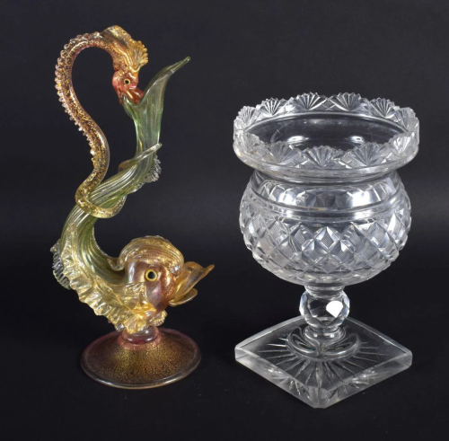 A REGENCY CUT GLASS VASE together with an antique