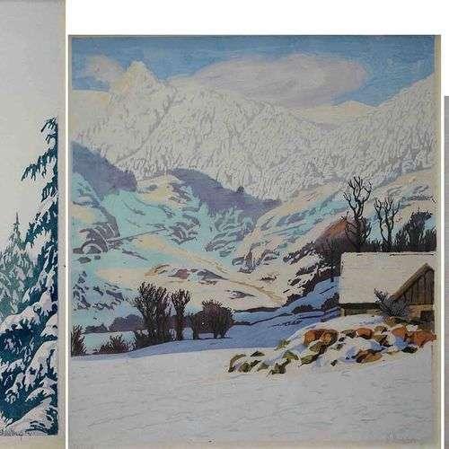 Paul LESCHHORN (1876-1952) Chalet enneigé, sapins sous la ne...
