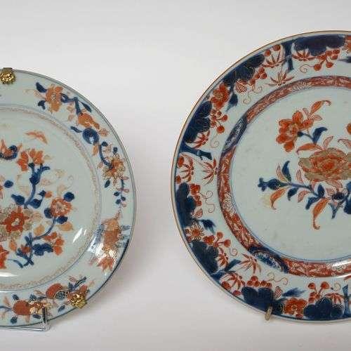 CHINE, XVIIIe-XIXe. ASSIETTE et PLAT en porcelaine de type I...