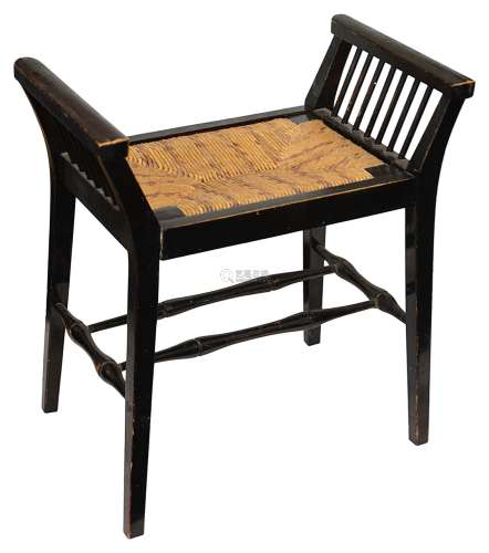 An Arts and Crafts ebonised beechwood stool in the style of ...