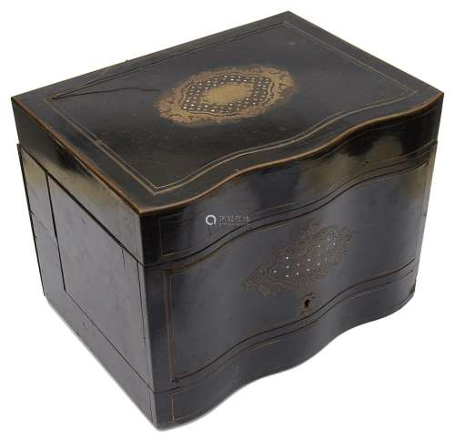 A 19th c. Fr. ebonised brass and mother of pearl inlaid deca...