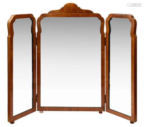 Two early 20th c. Queen Anne style walnut triptych dressing ...