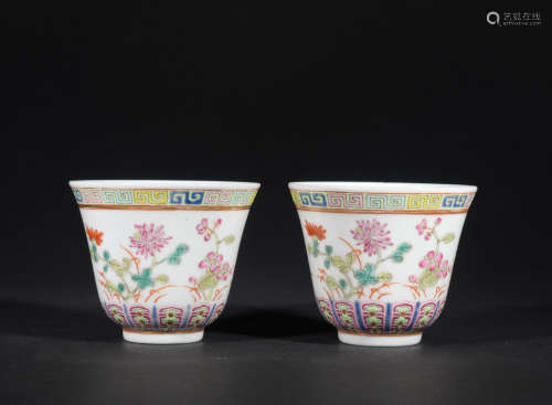A pair of famille-rose 'floral' cup