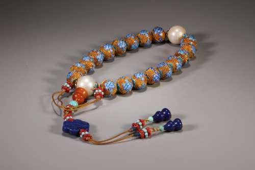 Enameling Handheld Bracelet with Eighteen Beads