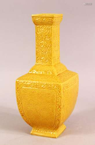 A SMALL CHINESE YELLOW GROUND SQUARE FORM VASE, with relief ...