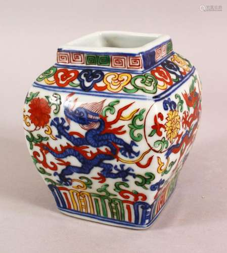 A SMALL CHINESE WUCAI STYLE VASE, the body painted with drag...