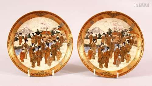 A PAIR OF JAPANESE MEIJI PERIOD SATSUMA DISHES - each decora...