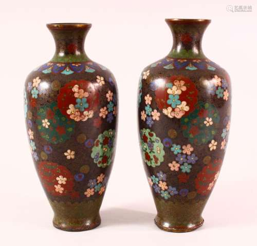A PAIR OF 19TH CENTURY CHINESE CLOISONNE VASES - with floral...