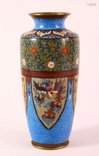 A JAPANESE MEIJI PERIOD CLOISONNE VASE - the vase with a low...