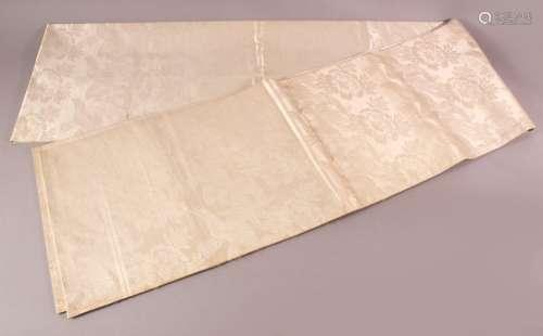 A FINE JAPANESE SILK EMBROIDERED FUKURO OBI TIE - the silk w...