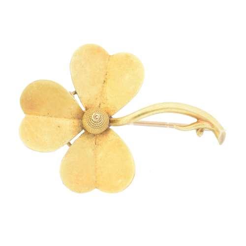 An early 20th century shamrock brooch,