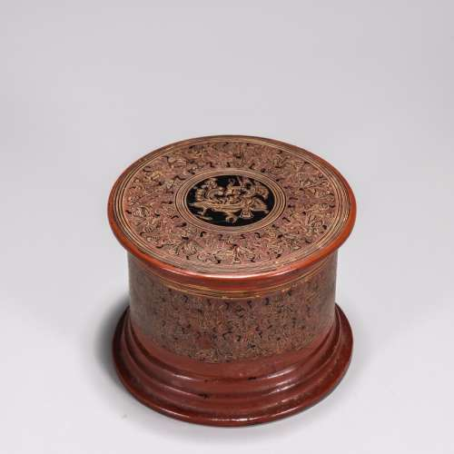 清 大漆佛教人物神鸟象纹盖盒