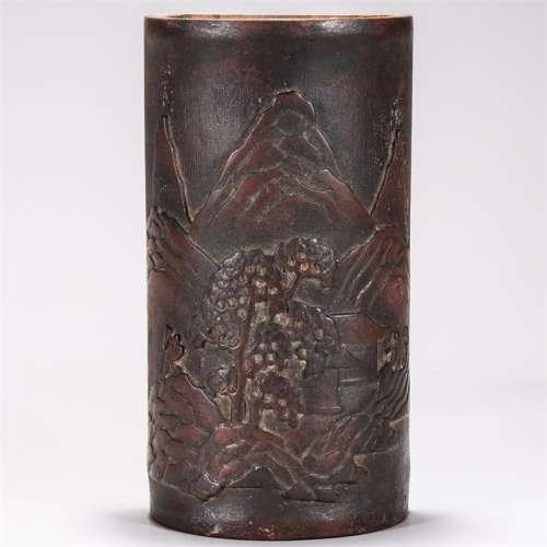 清 竹雕山水人物纹壁挂