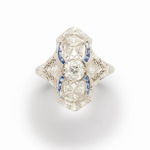 An Art Deco diamond, sapphire and platinum ring