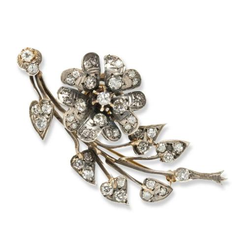 A Dutch diamond and silver-topped fourteen karat gold