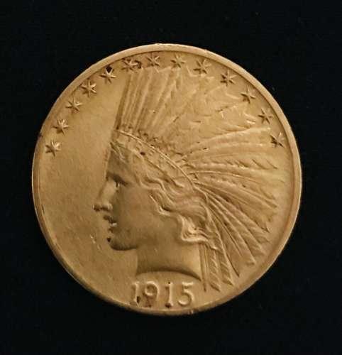 Pièce en or de 10 dollars à la tête d'indien, 1915 Poids : 1...