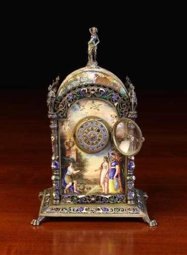 A Small 19th Century Vienna Enamel Clock.
