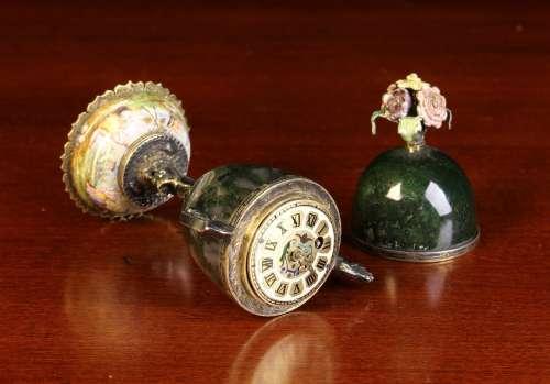 A Bijou Vienna Enamel & Moss-Agate Urn Clock.
