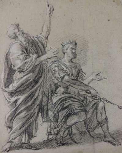 Ecole française vers 1700 Recto : scène avec un roi Verso : ...